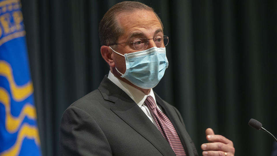 U.S. Department of Health and Human Service Secretary Alex Azar speaks during a COVID-19 briefing at the Centers for Disease Control and Prevention headquarter campus in Atlanta on, Oct. 21, 2020.  (Alyssa Pointer /Atlanta Journal-Constitution via AP)