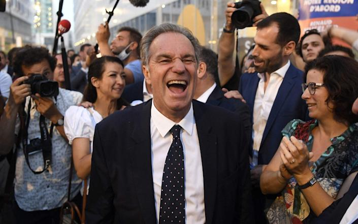 Renaud Muselier celebrates his reelection with supporters - Getty