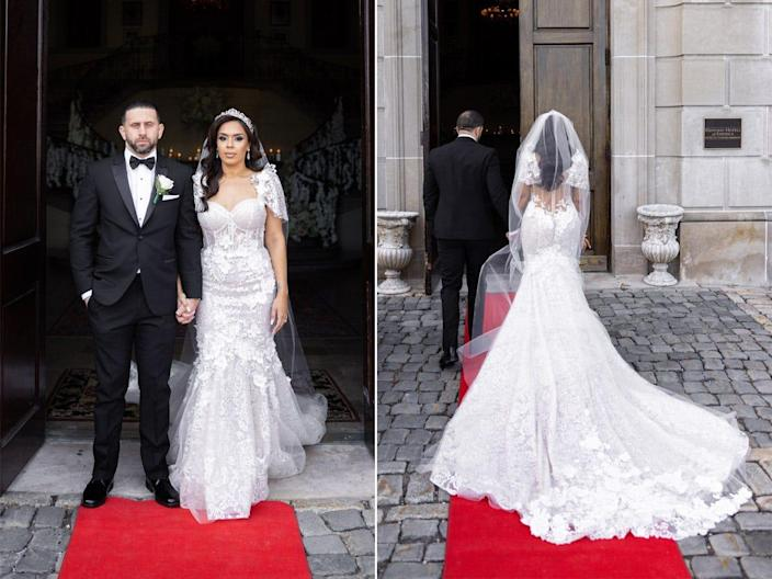A front and back view of Vishnell's dress outside