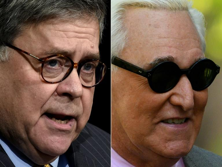 US Attorney General Bill Barr (L) is under fire for intervening in the criminal prosecution of Roger Stone, a close friend and political ally of President Donald Trump (AFP Photo/Olivier Douliery, Andrew CABALLERO-REYNOLDS)
