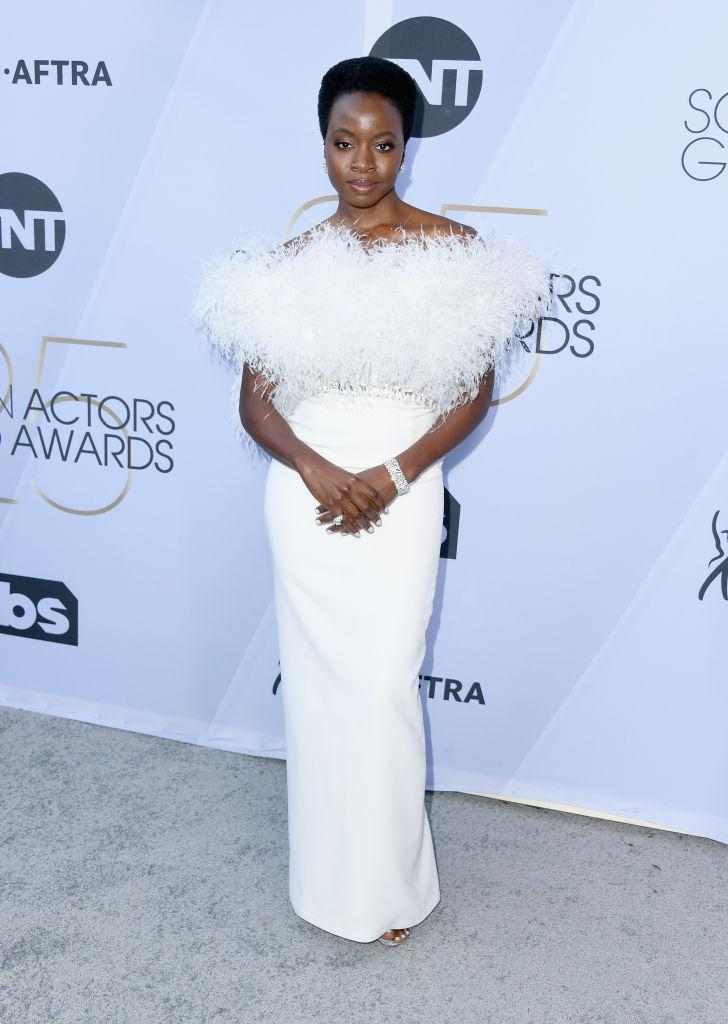 Danai Gurira attends the 25th Annual Screen Actors Guild Awards wearing a white feather gown by Ralph & Russo at the Shrine Auditorium on Jan. 27, 2019 in Los Angeles, California. (Photo: Getty Images)