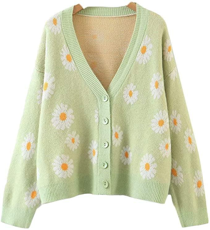 <p>Wear this <span>Y2K Floral Cardigan</span> ($32) with a simple white tee or camisole.</p>