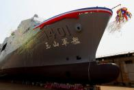 "Taiwan Navy's domestically built amphibious transport dock ""Yushan"" is seen during its launching ceremony in Kaosiung"