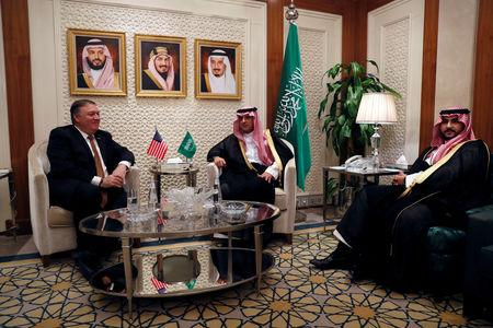 U.S. Secretary of State Mike Pompeo meets with Saudi Foreign Minister Adel al-Jubeir in Riyadh, Saudi Arabia, October 16, 2018. REUTERS/Leah Millis/Pool