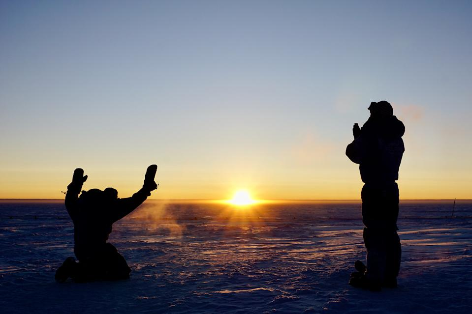 After four months of total darkness, on Aug. 11, the sun finally rose at the Concordia research station in Antarctica. Here, you can see ESA-sponsored medical doctor Stijn Thoolen (left) and engineer Wenceslas Marie-Sainte (right) celebrating the sunrise. The pair are part of a 12-member crew spending a year working, living and researching at the station.