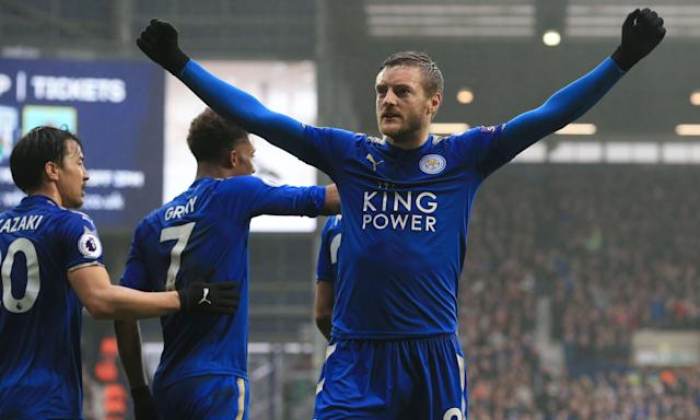 Jamie Vardy celebrates scoring Leicester's opening goal against West Brom.