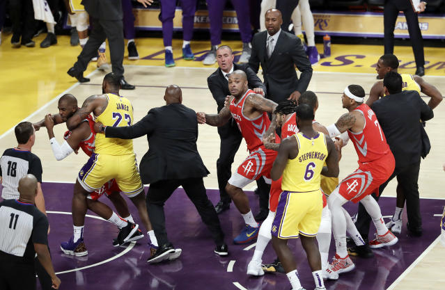 A fight between Chris Paul, Rajon Rondo and Brandon Ingram ensued in the Los Angeles Lakers' home opener on Saturday night. (AP)