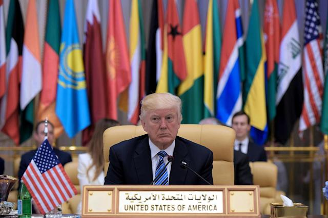 <p>U.S. President Donald Trump attends the Arabic Islamic American Summit at the King Abdulaziz Conference Center in Riyadh, Saudi Arabia, May 21, 2017. (Photo: Mandel Ngan/AFP/Getty Images) </p>