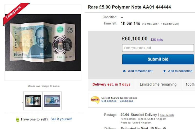 Rare find: The £5 note has the serial number AA01 444444: eBay