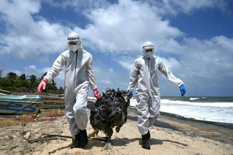 Tonnes of microplastic granules from a burning container ship have inundated Sri Lanka's west coast