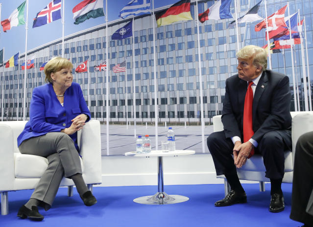 President Trump and German Chancellor Angela Merkel meet in Brussels, July 11, 2018. (Photo: Pablo Martinez Monsivais/AP)