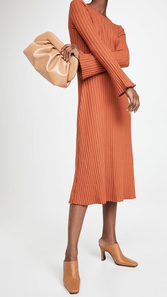 <p>The dark orange shade of this <span>Simon Miller Rib Wells Long Sleeve Dress</span> ($198) makes it vibrant and cheerful. The ribbed texture also looks chic. Complete your look with refined mules and a cute pouch.</p>