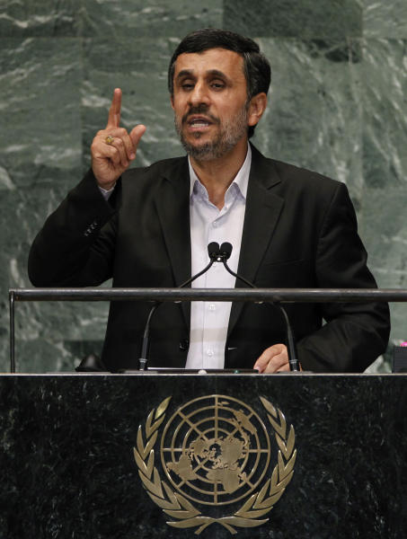 FILE - In this Sept. 26, 2012 file photo, Mahmoud Ahmadinejad, President of Iran, addresses the 67th session of the United Nations General Assembly at U.N. headquarters. The White House says it is prepared to talk one-on-one with Iran to find a diplomatic settlement to the impasse over Tehran's reported pursuit of nuclear weapons, but there's no agreement now to meet, Saturday, Oct. 20, 2012. (AP Photo/Jason DeCrow, File)
