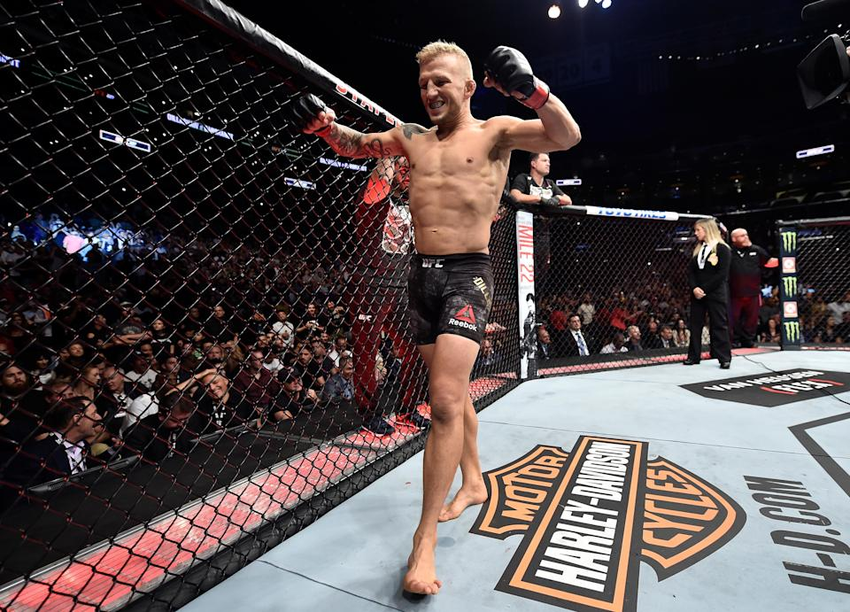 T.J. Dillashaw retained his UFC bantamweight title during UFC 227 against Cody Garbrandt. (Getty Images)