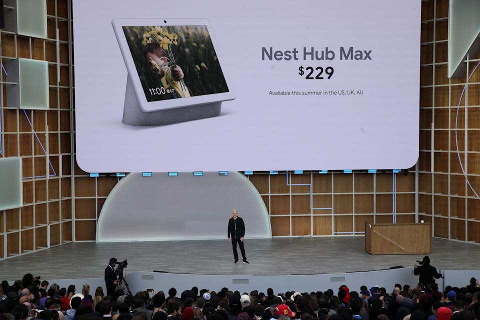 Google SVP of Devices and Services Rick Osterloh announces the new Nest Hub Max during the keynote address at the 2019 Google I/O conference at Shoreline Amphitheatre on May 07, 2019 in Mountain View, California. The annual Google I/O Conference runs through May 8. (Photo by Justin Sullivan/Getty Images)