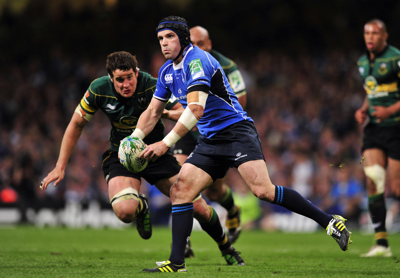Leinster's Irish flanker Shane Jennings passes the ball during their Heineken Cup Final match against Northampton Saints at the Millennium Stadium in Cardiff on May 21, 2011. AFP PHOTO/GLYN KIRK  NOT FOR MARKETING OR ADVERTISING USE/RESTRICTED TO EDITORIAL USE (Photo credit should read GLYN KIRK/AFP/Getty Images)