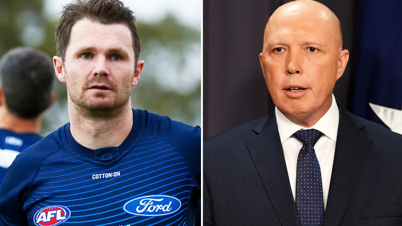 Patrick Dangerfield and Peter Dutton, pictured here in 2020.