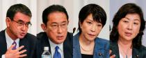 FILE PHOTO: Contenders for the presidential election of the ruling Liberal Democratic Party (LDP) hold a joint news conference in Tokyo