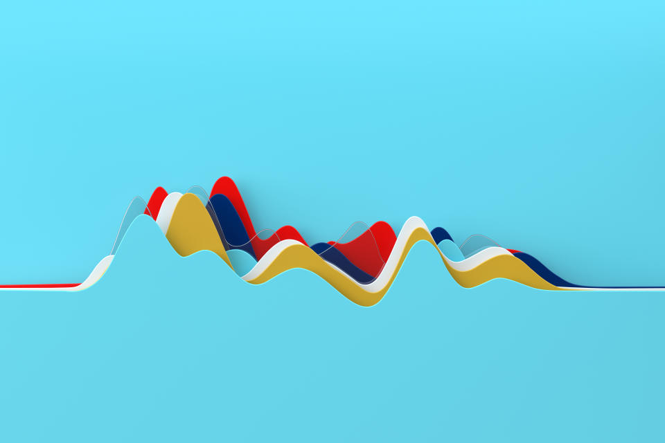 Digital generated image of abstract multi colored curve chart on blue background