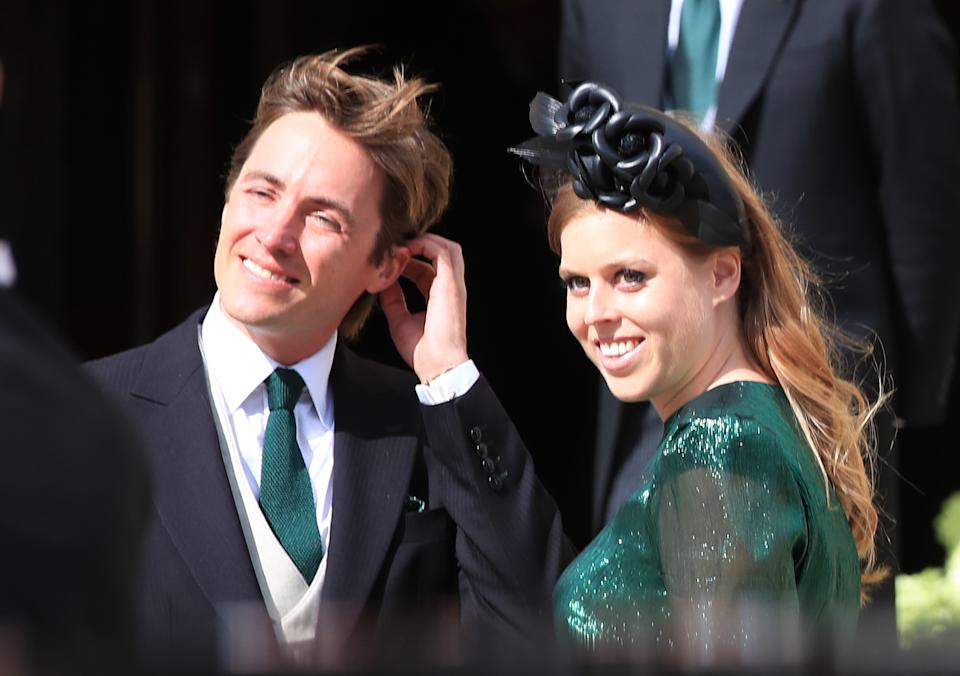 File photo dated 31/8/2019 of Princess Beatrice with her fiance, Edoardo Mapelli Mozzi, attending the wedding of Ellie Goulding and Caspar Jopling at York Minster. Princess Beatrice has married Edoardo Mapelli Mozzi in an unannounced ceremony in front of her grandmother the Queen, and a small number of guests, Buckingham Palace has confirmed.