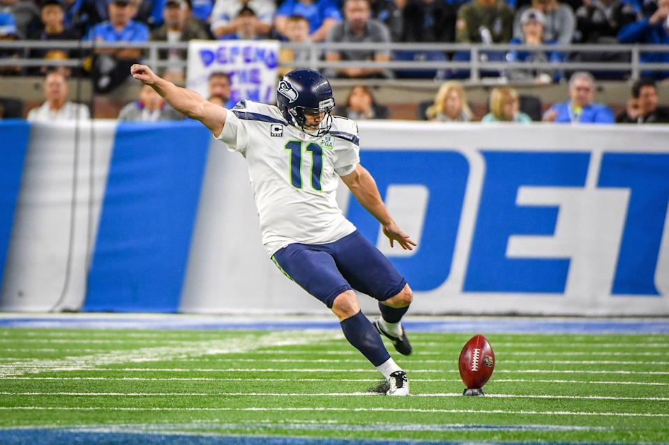 DETROIT, MI - OCTOBER 28: Seattle Seahawks kicker Sebastian Janikowski (11) kicks off during the Detroit Lions game versus the Seattle Seahawks on Sunday October 28, 2018 at Ford Field in Detroit, MI. (Photo by Steven King/Icon Sportswire via Getty Images)