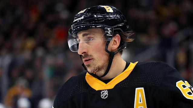 Boston Bruins forward Brad Marchand called out the concussion spotter. (Photo by Maddie Meyer/Getty Images)
