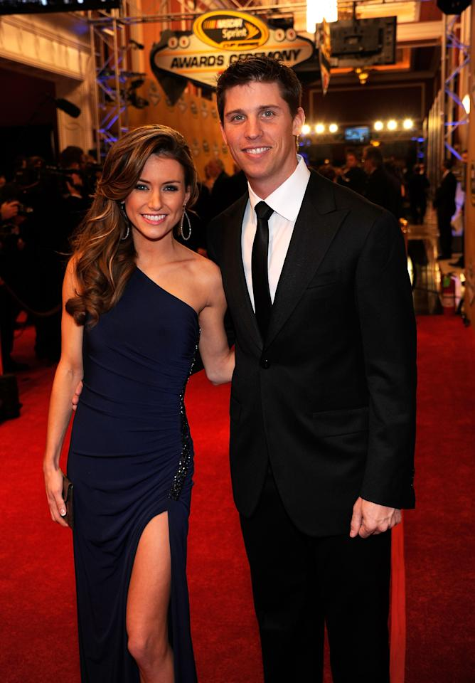 LAS VEGAS, NV - DECEMBER 02:  Driver Denny Hamlin (R) and girlfriend Jordan Fish attend the NASCAR Sprint Cup Series Champion's Week Awards Ceremony at Wynn Las Vegas on December 2, 2011 in Las Vegas, Nevada.  (Photo by Ethan Miller/Getty Images)