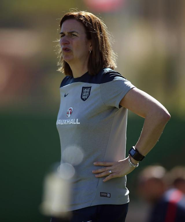 LA MANGA, SPAIN - MARCH 04: Marieanne Spacey, hred coach of England reacts during the women's U23 international friendly match between USA U20 and England U23 on March 4, 2016 in La Manga, Spain. (Photo by Johannes Simon/Bongarts/Getty Images)