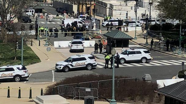 PHOTO: Capitol Police and responders gather near a site where a car crashed into a barrier on Capitol Hill in Washington, April 2, 2021. (Kevin Drennen/ABC News)