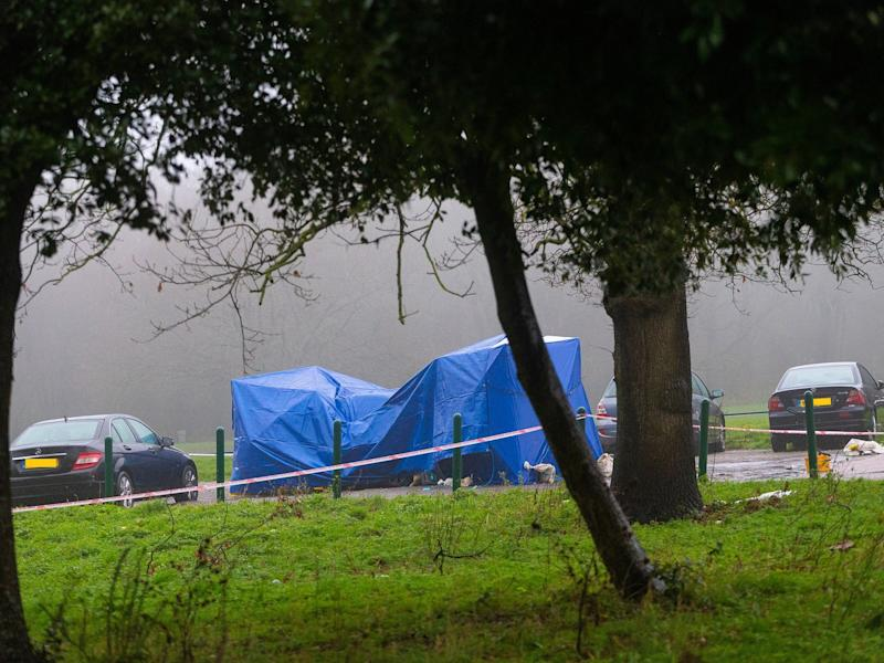 A forensic tent covers a car in Scratchwood Park off Barnet Bypass, north London, after police found a man stabbed to death inside the boot on 19 November, 2019: Paul Davey/SWNS