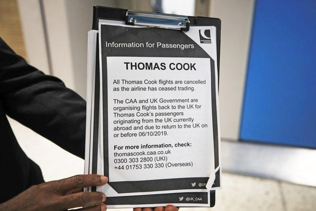 An information notice displayed at Manchester Airport as Thomas Cook ceased trading