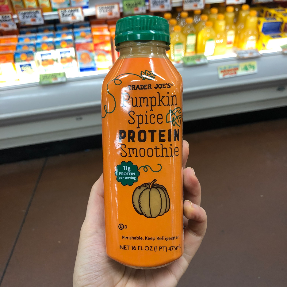 <p><strong>This refrigerated protein smoothie is packed with full pumpkin spice flavor and a ton of protein to boot. </strong>It's got quite a bit of sugar but is also packed with tons of vitamins and minerals like potassium and calcium.</p>