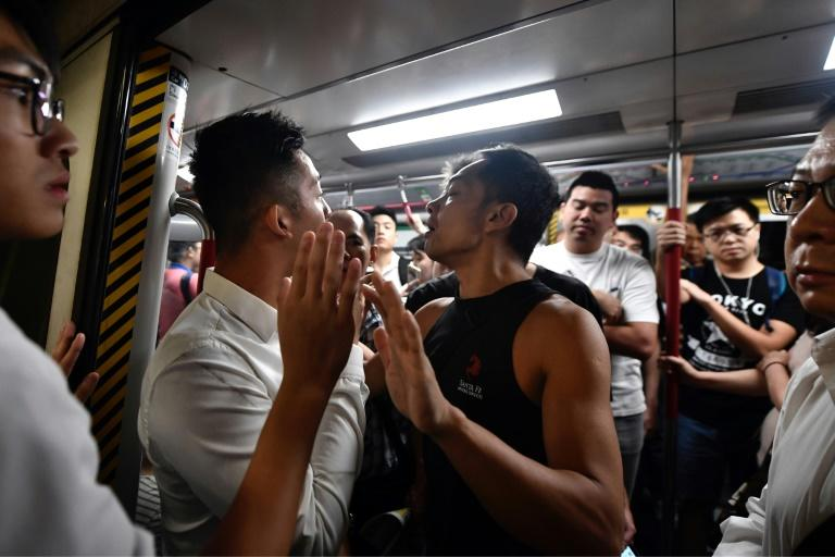 Protesters prevented the doors of subway trains closing