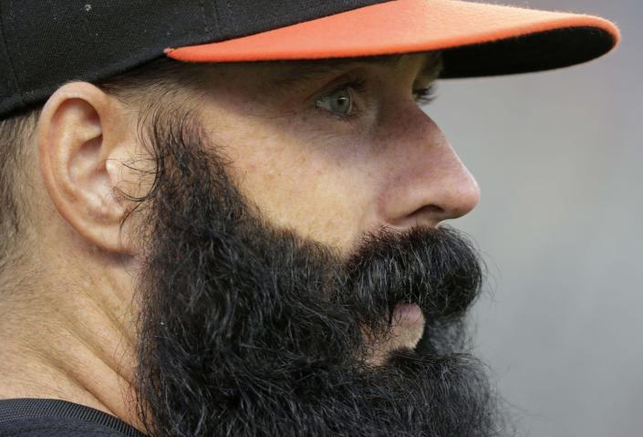 FILE - In this Oct. 27, 2012 file photo, San Francisco Giants' Brian Wilson watches as the Giants take batting practice before Game 3 of baseball's World Series against the Detroit Tigers in Detroit. The San Francisco Giants declined to tender a one-year contract to Wilson on Friday, Nov. 30, 2012, making him a free agent as he recovers from a second ligament replacement surgery on his right elbow (AP Photo/Charlie Riedel, file)