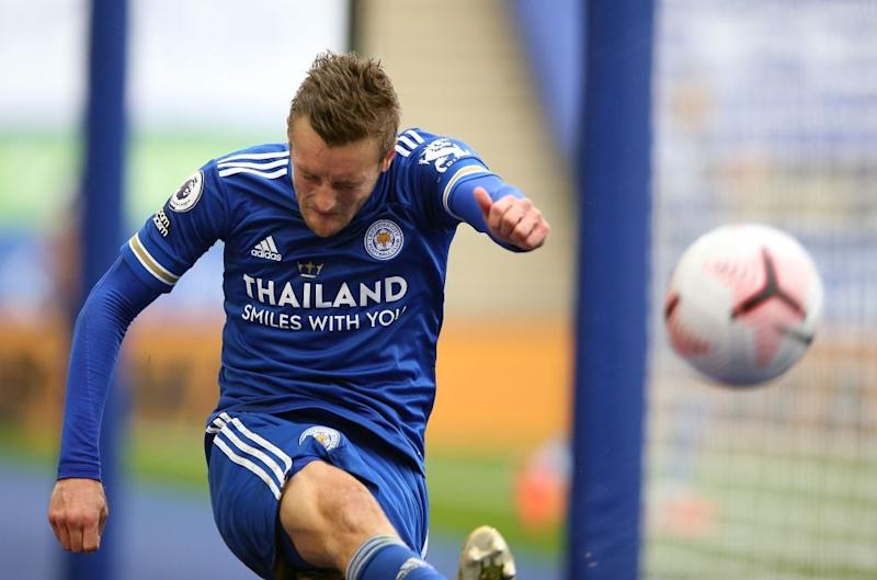 Jamie Vardy for Leicester (POOL/AFP via Getty Images)