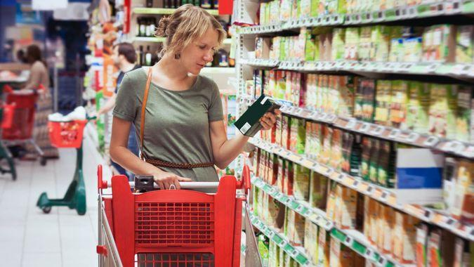 Price, grocery store, shopping cart, woman
