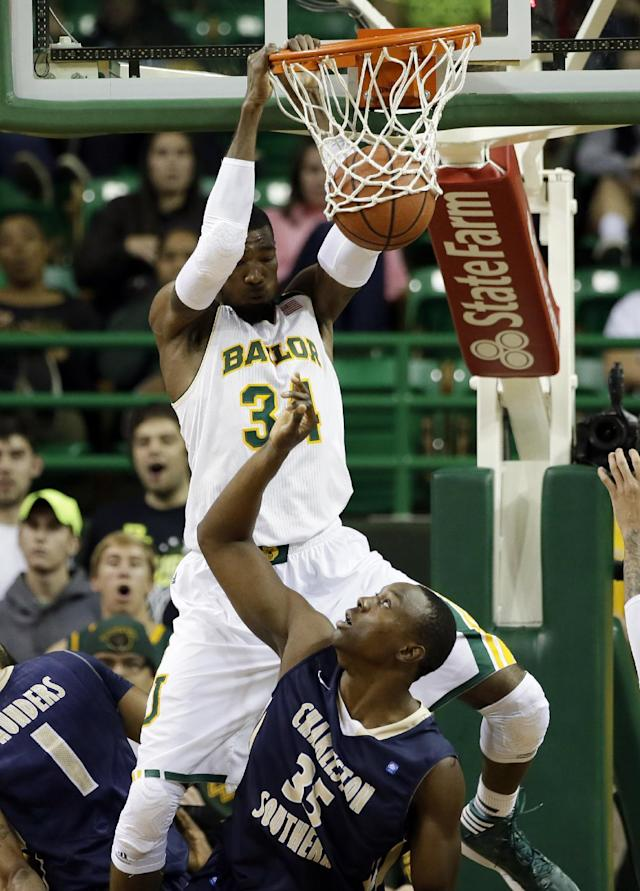 Baylor forward Cory Jefferson (34) dunks over Charleston Southern's Allie Fullah (35) in the first half of an NCAA college basketball game, Wednesday, Nov. 20, 2013, in Waco, Texas. (AP Photo/Tony Gutierrez)