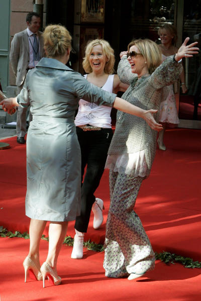 "FILE - In this July 4, 2008 file photo, Abba members Agnetha Faltskog, center, and Anni-Frid Lyngstad-Reuss, right, greet cast member Meryl Streep, left, at the premiere of the movie version of the musical ""Mamma Mia!,"" in Stockholm. Faltskog is releasing a new solo album called ""A,"" on May 14, 2013. It's the 63-year-old's first album since 2004's ""My Colouring Book,"" which, at the time, she assumed would be her last release. (AP Photo/Leif R Jansson, File) ** SWEDEN OUT **"