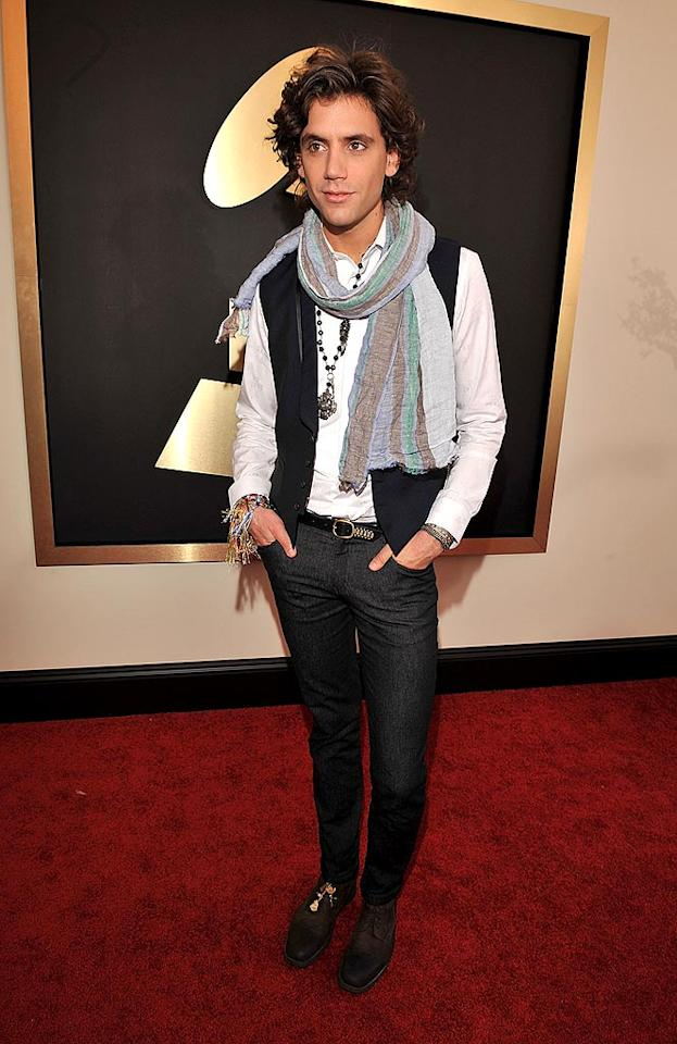 """Grammy nominee Mika (Best Dance Recording) was cute as could be in his skinny black pants and velvet vest, but he definitely should have left the scarf at home. Lester Cohen/<a href=""""http://www.wireimage.com"""" target=""""new"""">WireImage.com</a> - February 10, 2008"""