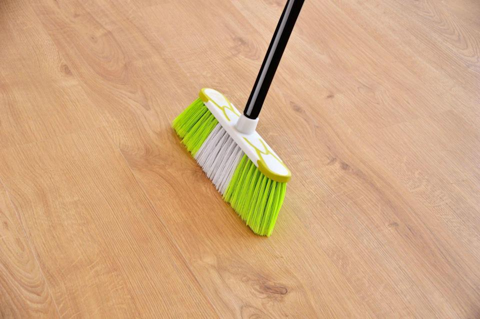 <p>Don't forget about your broom! Clear any dust bunnies stuck on your broom's bristles by swishing the broom head around in warm, soapy water, or vacuum it with the end of the vacuum hose. </p>