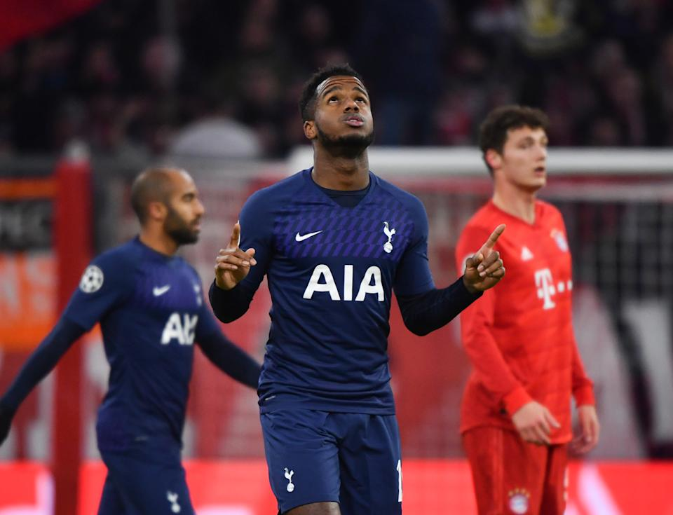 11 December 2019, Bavaria, Munich: Soccer: Champions League, Bayern Munich - Tottenham Hotspur, Group stage, Group B, 6th matchday in the Allianz Arena. 1-1 goal scorer Ryan Sessegnon of Tottenham rejoices over his goal. Photo: Peter Kneffel/dpa (Photo by Peter Kneffel/picture alliance via Getty Images)
