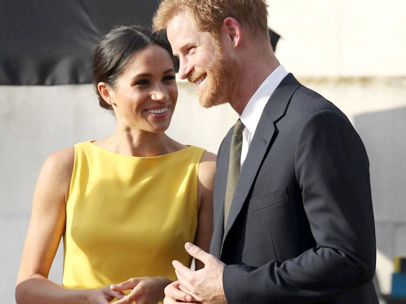 Prince Harry and Meghan Markle attend Prince Louis' christening