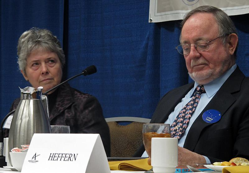 Democratic state Rep. Sharon Cissna, left, listens to a question during her debate with U.S. Rep. Don Young on Monday, Nov. 5, 2012, in Anchorage, Alaska. Young, a Republican, is seeking a 21st term as Alaska's lone U.S. House member. Cissna is his Democratic challenger. (AP Photo/Becky Bohrer)