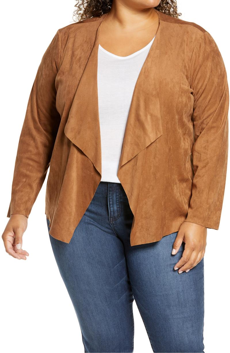 BB Dakota faux suede drape jacket (Photo via Nordstrom)