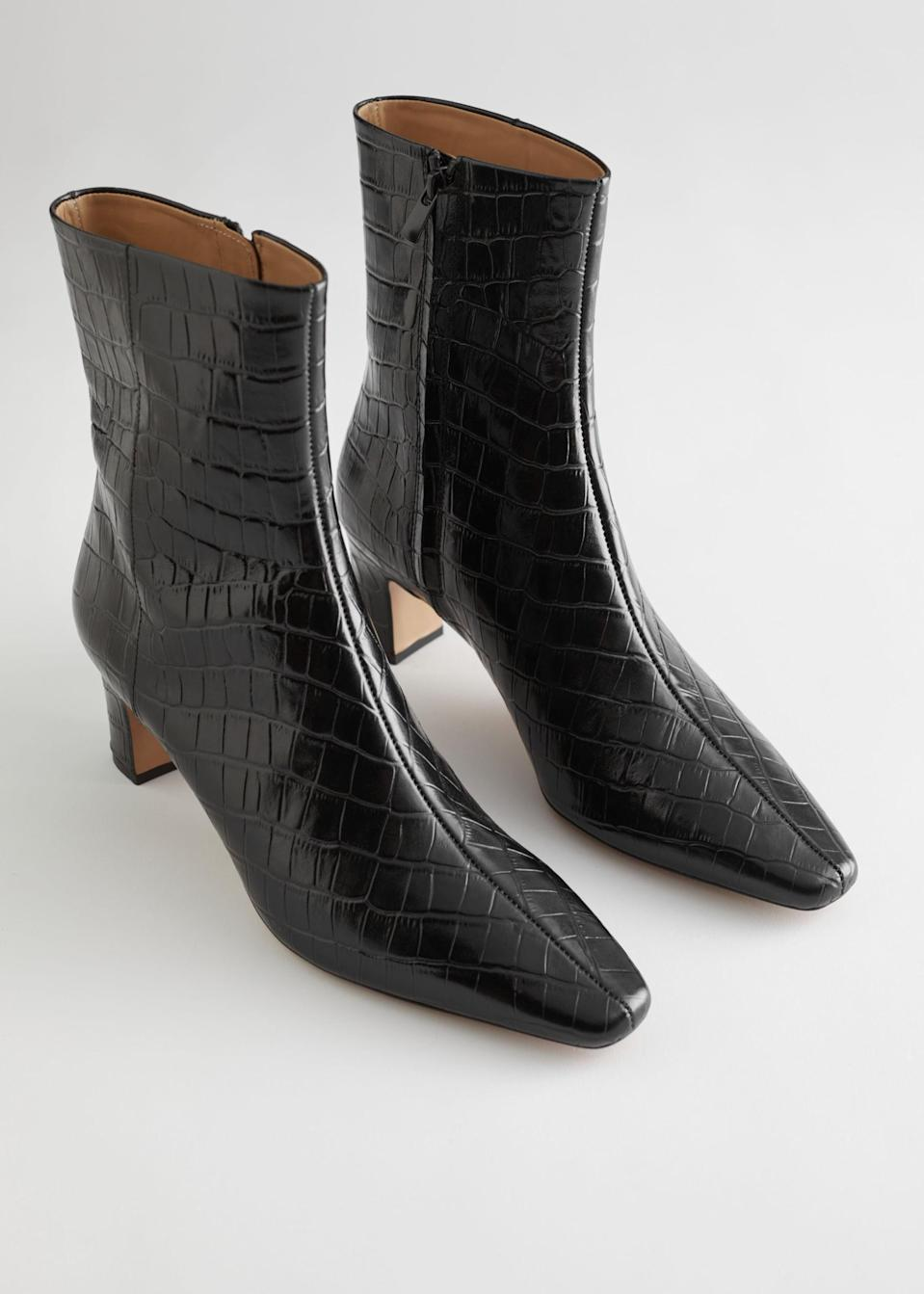 <p>These <span>&amp; Other Stories Croc Leather Heeled Ankle Boots</span> ($179) make a luxe everyday pair.</p>