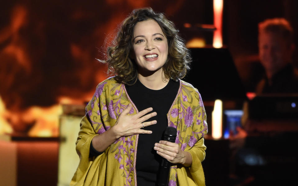 "FILE - Natalia Lafourcade performs at the Latin Recording Academy Person of the Year tribute honoring Alejandro Sanz on Nov. 15, 2017, in Las Vegas. Lafourcade won album of the year, a category dominated by male acts, at the 21st Latin Grammy Awards on Nov. 19, 2020, with ""Un Canto Por México, Vol. 1."" Lafourcade won three awards, tying Rosalia and Carlos Vives for most wins. (Photo by Chris Pizzello/Invision/AP, File)"