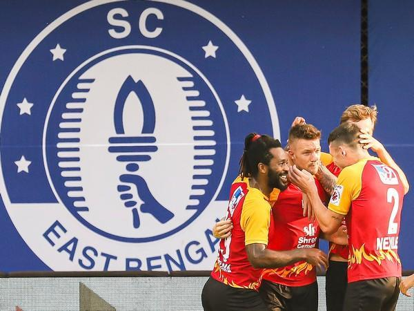 SC East Bengal players celebrating after netting a goal (Photo/ ISL)