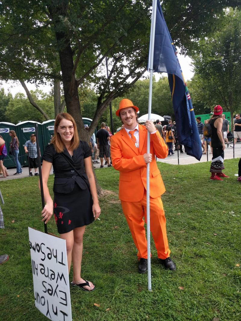 Zac, pictured in a bright orange suit and hat, came from Utah County, Utah. He said he has been harassed for wearing Juggalo merchandise because of the FBI's gang designation. (Paul Blumenthal)