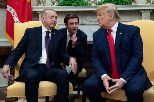 PHOTO: Turkish President Recep Tayyip Erdogan meets with President Donald Trump in the Oval Office of the White House, Nov. 13, 2019, in Washington, D.C. (Evan Vucci/AP)