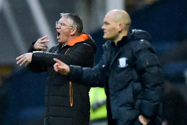 "Soccer Football - Championship - Preston North End vs Hull City - Deepdale, Preston, Britain - February 3, 2018 Hull City manager Nigel Adkins and Preston manager Alex Neil Action Images/Paul Burrows EDITORIAL USE ONLY. No use with unauthorized audio, video, data, fixture lists, club/league logos or ""live"" services. Online in-match use limited to 75 images, no video emulation. No use in betting, games or single club/league/player publications. Please contact your account representative for further details."